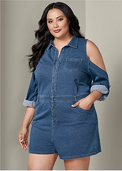 plus size french terry denim romper