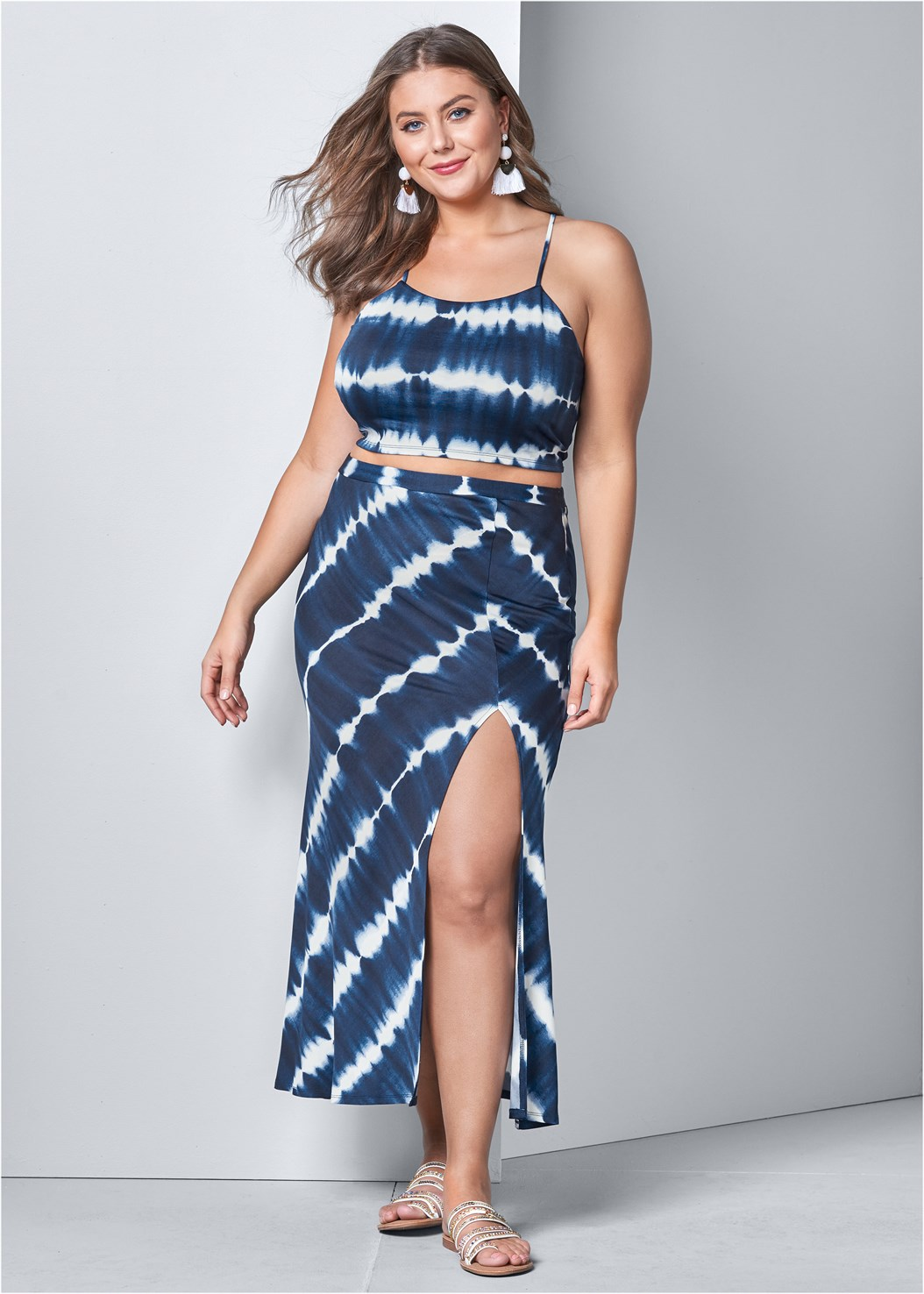 Tie Dye Two Piece Set,Strappy Toe Ring Sandals,Fringe Drop Earrings