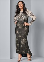plus size floral long dress