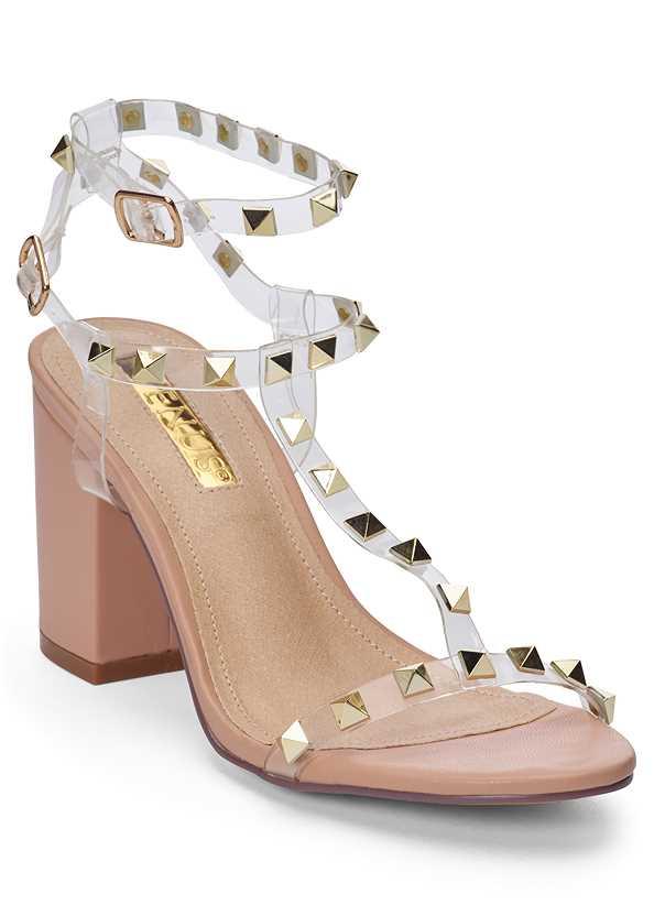 Transparent Studded Heels,Smocked Mesh Detail Top,Jean Jacket,Frayed Cut Off Jean Shorts