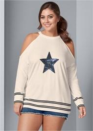 Front View Sequin Star Sweatshirt