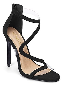 asymmetrical strappy heels