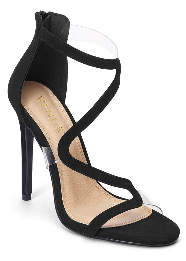 Asymmetrical Strappy Heels,Mesh Ruched Midi Dress,Leaf Earrings,Ring Handle Circle Clutch