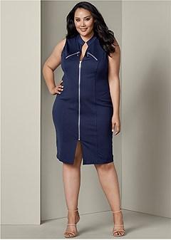 plus size zipper detail bodycon dress