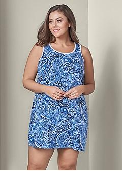 plus size paisley print sleep dress