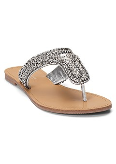 45cece773c9b Our strappy and Steve Madden sandals pack a punch with eye catching  embellishments. rhinestone flats