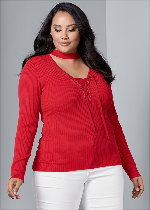 ae9f904ebc Plus Size MOCK NECK LACE UP SWEATER in Red