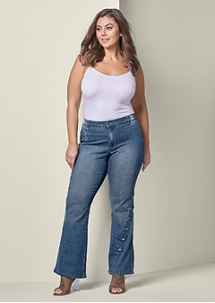 plus size snap detail jeans