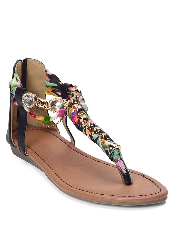 Embellished Rope Sandals,Frayed Cut Off Jean Shorts