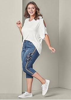 plus size racing stripe jean capris