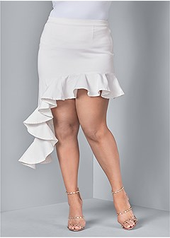 plus size ruffle jean skirt