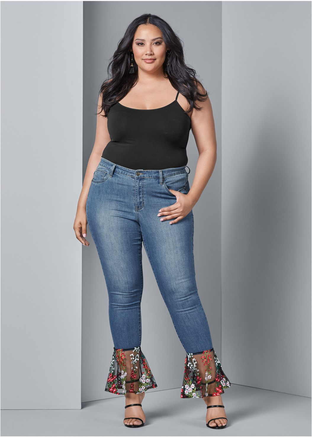 Lace Detail Jeans,Basic Cami Two Pack,High Heel Strappy Sandals,Bauble Fringe Earrings