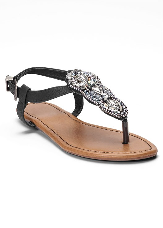 fbe91d8e6 EMBELLISHED THONG SANDALS in Black