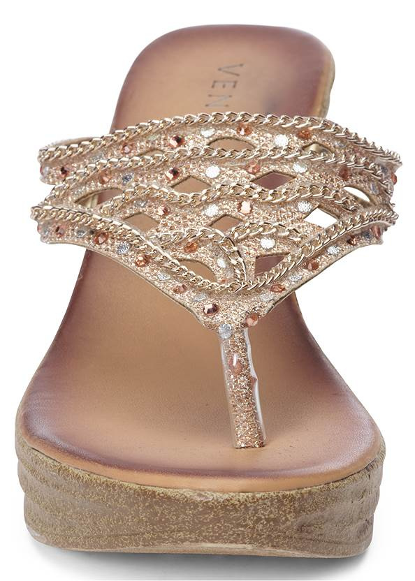 Front View Embellished Wedges