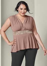 Front View Embellished Waistband Top