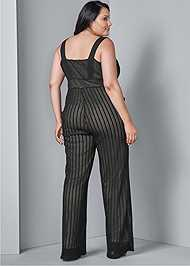 Back View Stripe Mesh Jumpsuit