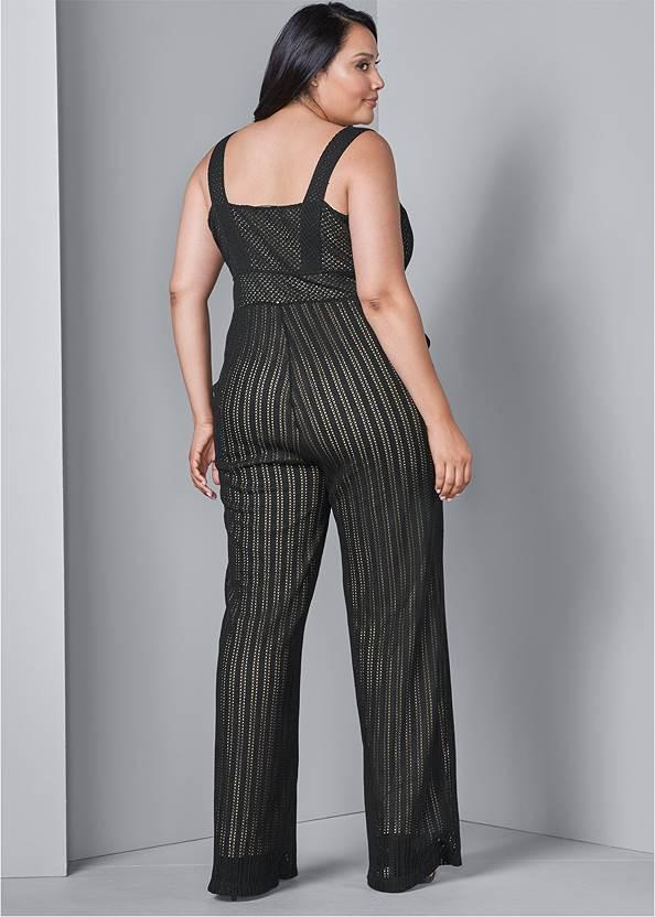 Back View Stripe Mesh Jumpsuit