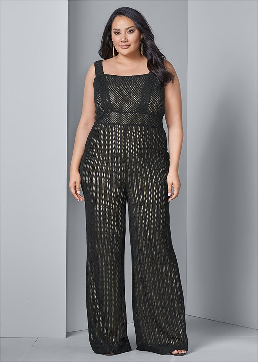 KNIT JUMPSUIT,HIGH HEEL STRAPPY SANDALS,HAMMERED METAL EARRINGS