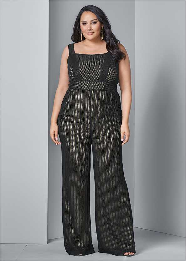 Stripe Mesh Jumpsuit,High Heel Strappy Sandals