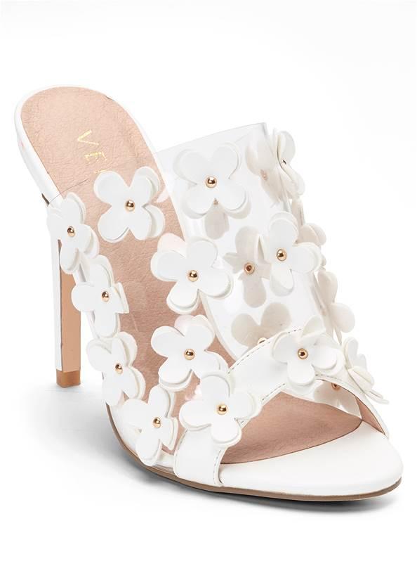 Flower Detail Heels,Surplice Floral Dress