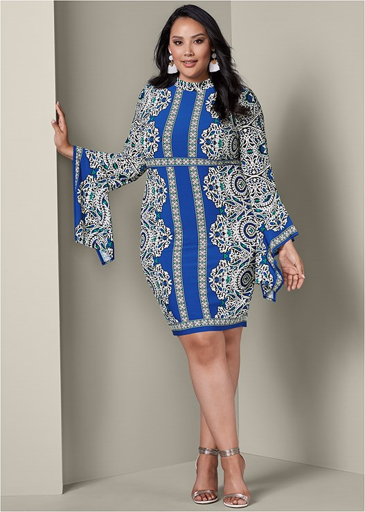 PRINT SLEEVE DETAIL DRESS,METALLIC STRAP HEELS,FRINGE DROP EARRINGS