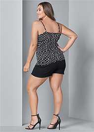 Back View Ruched Detail Polka Dot Top