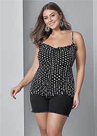 Front View Ruched Detail Polka Dot Top