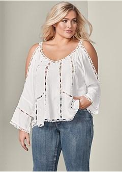 cb21f54b65c7db plus size cold shoulder lace trim top