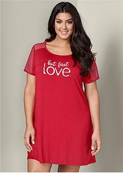 plus size mesh inset sleep dress