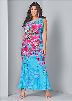 3c0093f0002 plus size floral print maxi dress