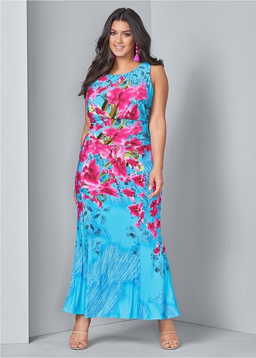 Plus Size FLORAL PRINT MAXI DRESS | VENUS