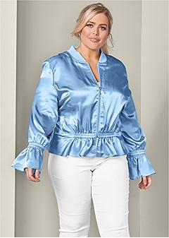 plus size peplum detail bomber jacket