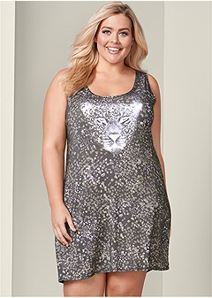 plus size graphic sleep tank dress