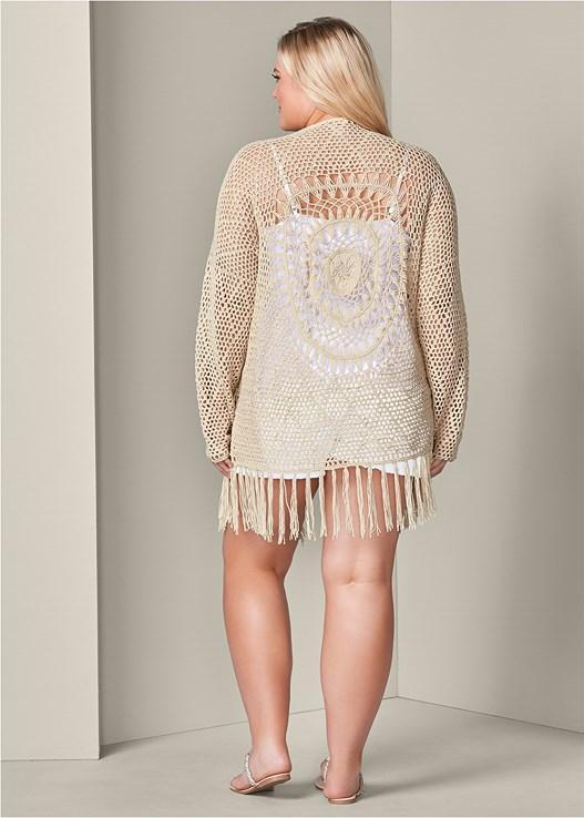 Plus Size Crochet Cardigan In Beige Venus
