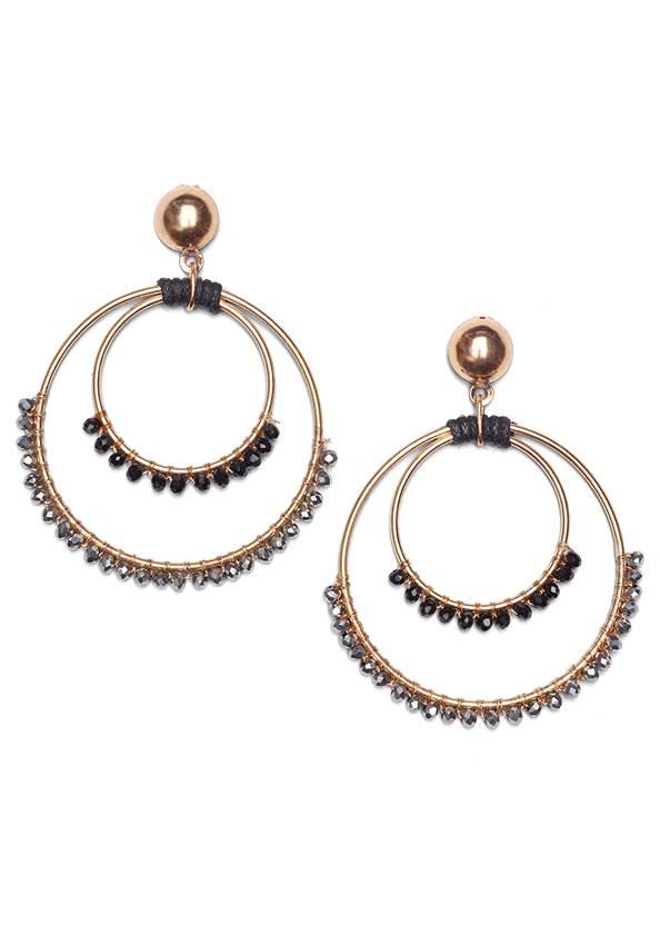 Beaded Hoop Earrings,Beaded Cork Wedge,Long Chain Pendant Necklace,Pleated Tote Bag