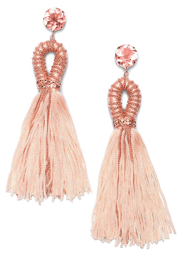 Embellished Tassel Earrings,Floral Print Dress