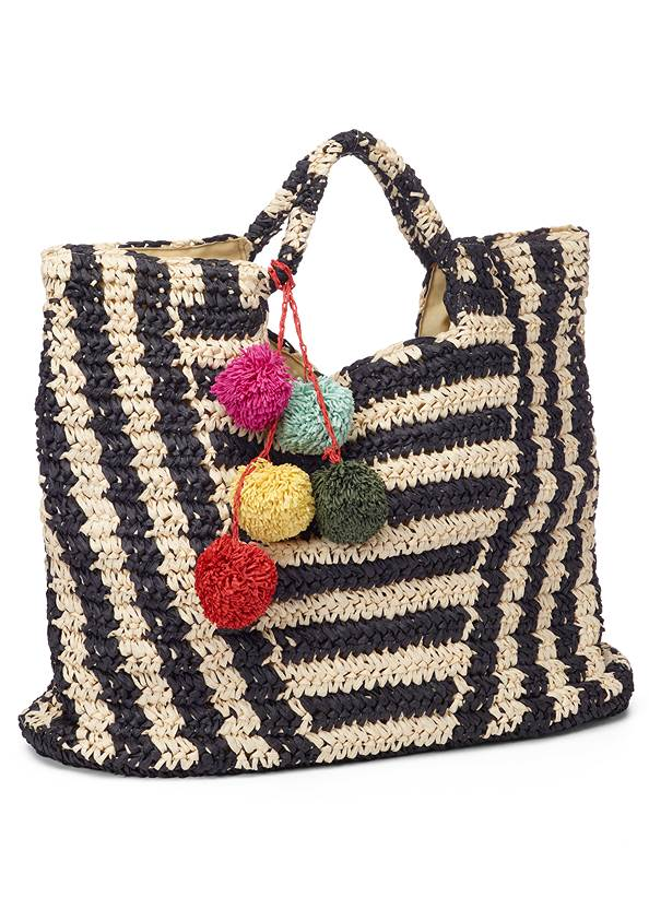 Striped Straw Tote,Double Strap Cork Wedges,Wood Earrings,Long Chain Pendant Necklace