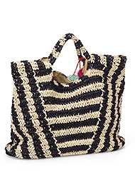 Back View Striped Straw Tote