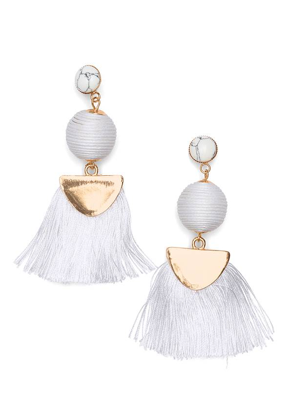 Fringe Drop Earrings,Textured Wide Strap Flatform Wedge,Chunky Pendant Necklace,Beaded Oval Bag