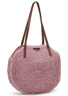 circular straw tote bag