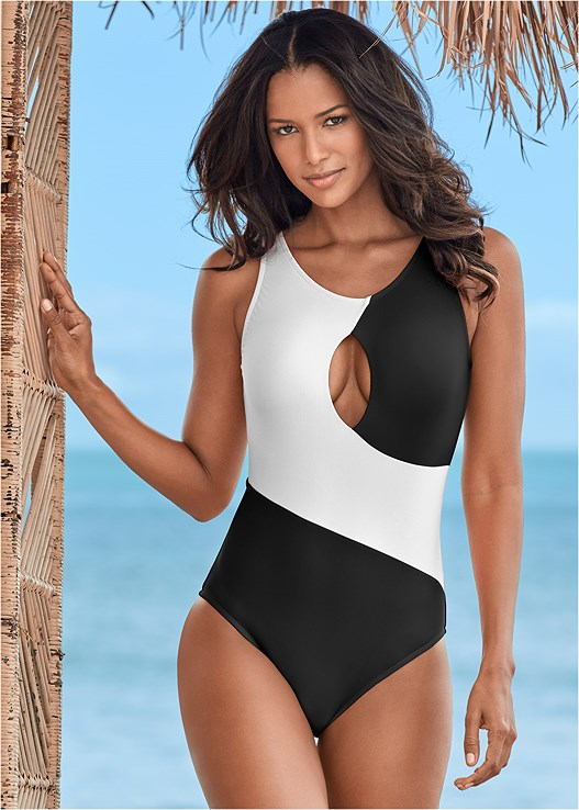 KEYHOLE ONE-PIECE,DEEP V BEACH COVER-UP