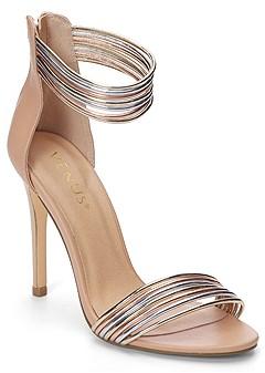 metallic strap heels