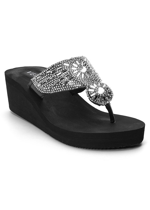 EMBELLISHED WEDGE SANDAL