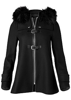 plus size buckle detail coat