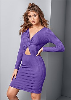 knot front ribbed dress