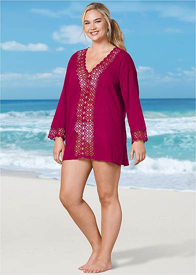 Plus Size Open Crochet Trimmed Tunic