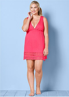 plus size sleeveless v-neck cover-up