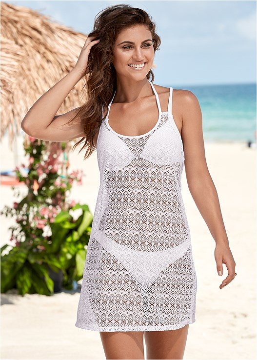 CROCHET COVER-UP DRESS,ENHANCER PUSH UP BRA,SCOOP FRONT BIKINI BOTTOM