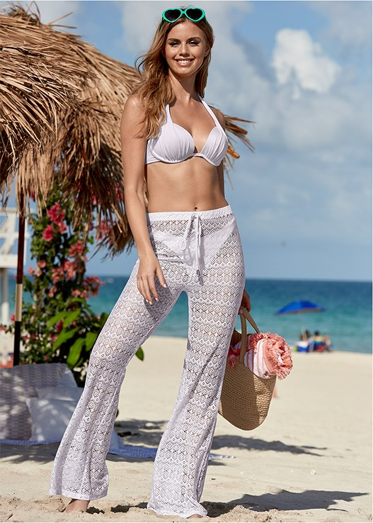 CROCHET MESH COVER-UP PANT,MARILYN PUSH UP BRA TOP,SCOOP FRONT BIKINI BOTTOM