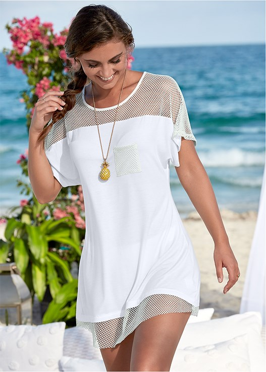 MESH TRIMMED COVER-UP DRESS,LOW RISE BIKINI BOTTOM